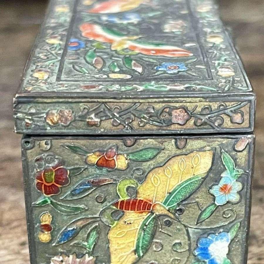 Enamel chinese stamp box circa 1900