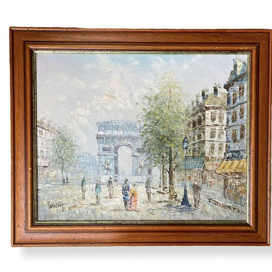 Vintage Parisian scene oil painting