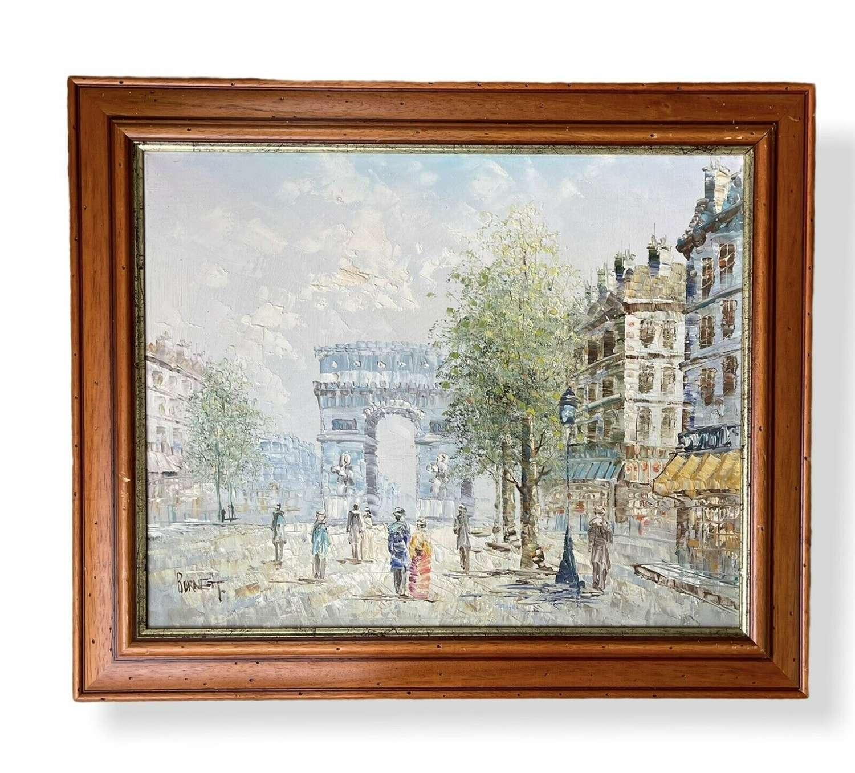 Vintage Parisian scene oil painting