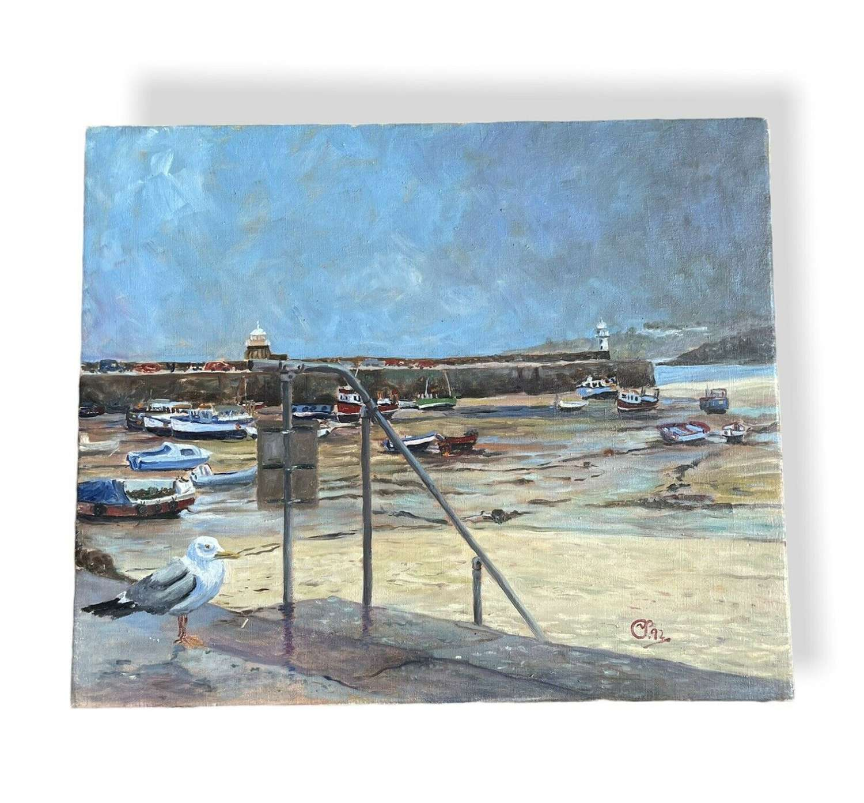 Harbour scene oil painting