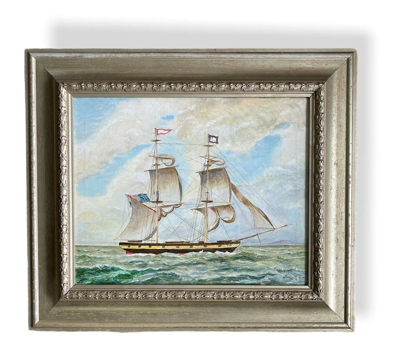 Original oil painting of a Galleon