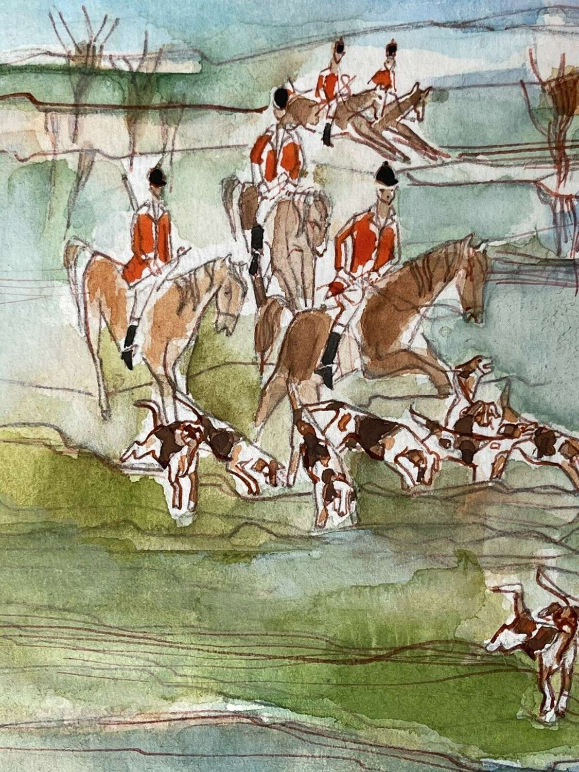 Hunting In Scotland By Molly Eckersdorff watercolour
