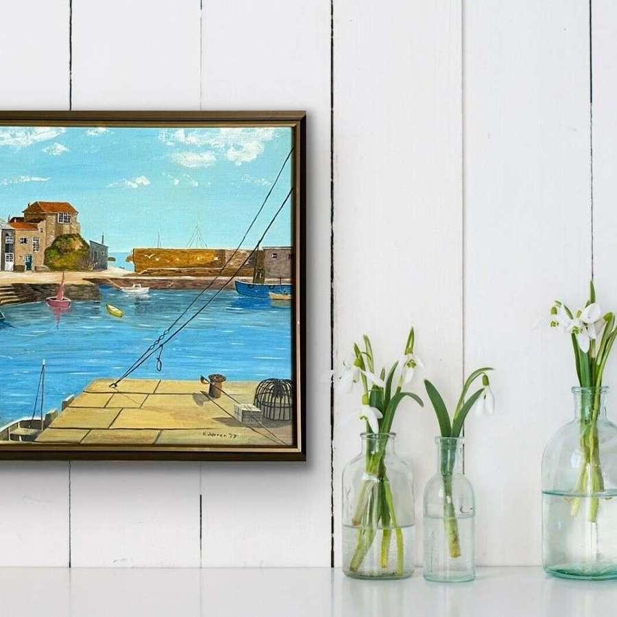 Cornish harbour scene Acrylic on board