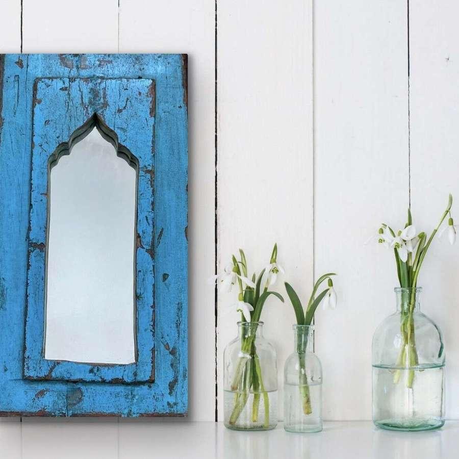 Reclaimed Greek blue mirror