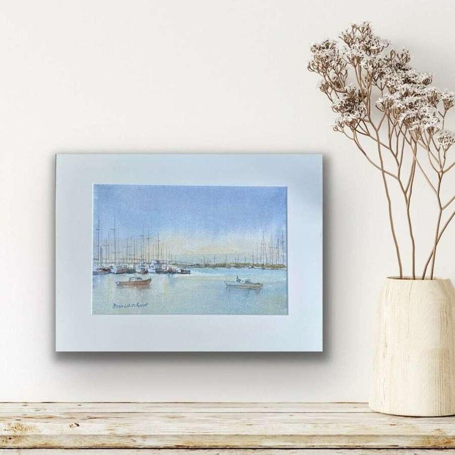Bess Whitehurst Harbour Scene watercolour.