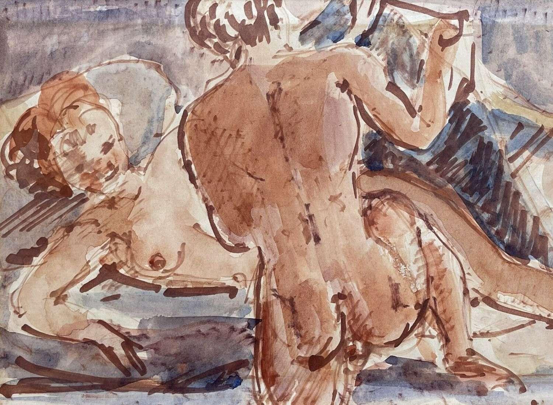 Stuart Scott Somerville Nude Couple Watercolour/ Gouache
