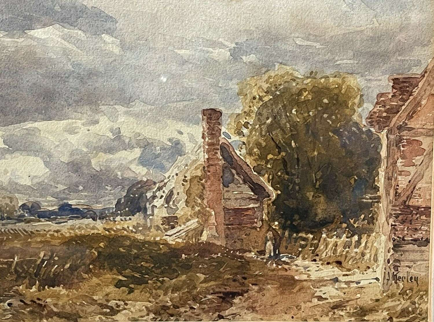 John Keeley Watercolour Cottages at Cropthorne.