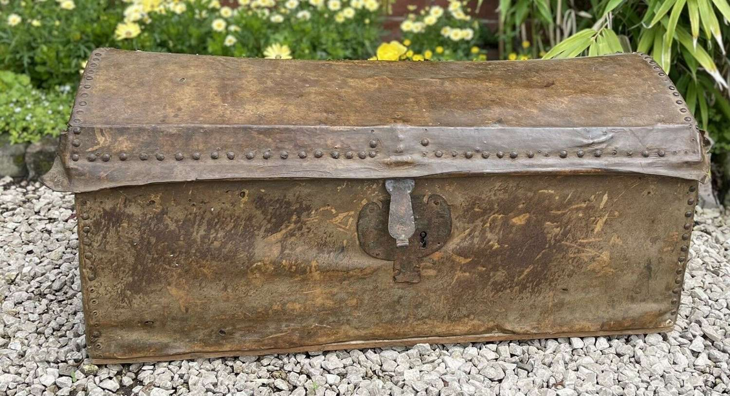 19th Century coaching trunk leather bound