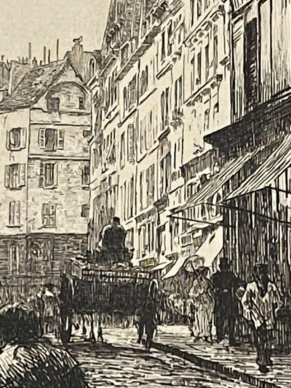 Leon Augustin Augustin Lhermitte, etching Rue St Andre Paris.