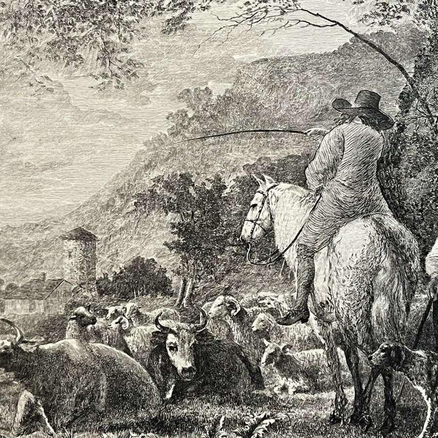 1887 Antique etching Aelbert Cuyp.