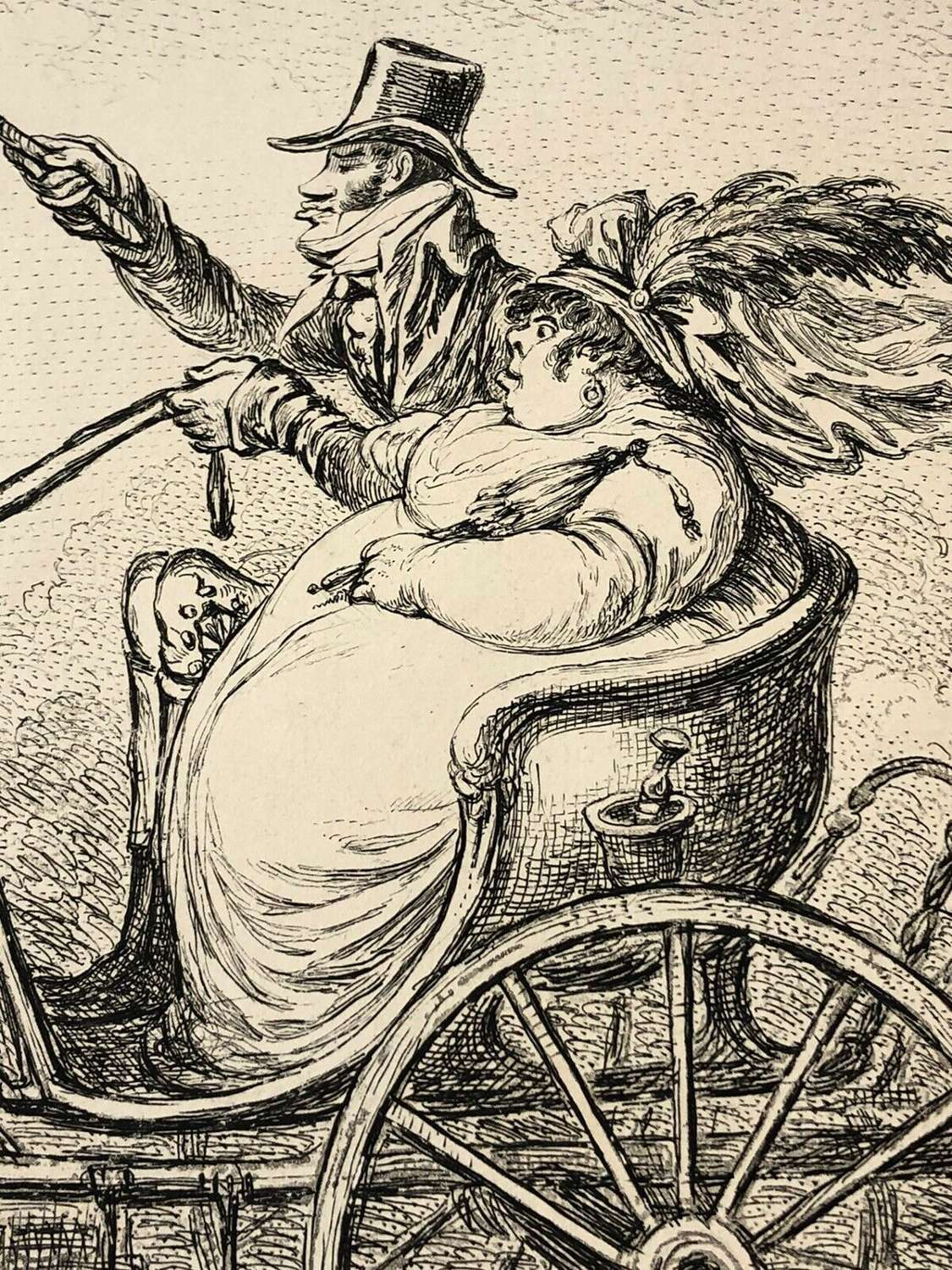 A Cokney & His Wife Going For Auction After James Gillray Engraving.
