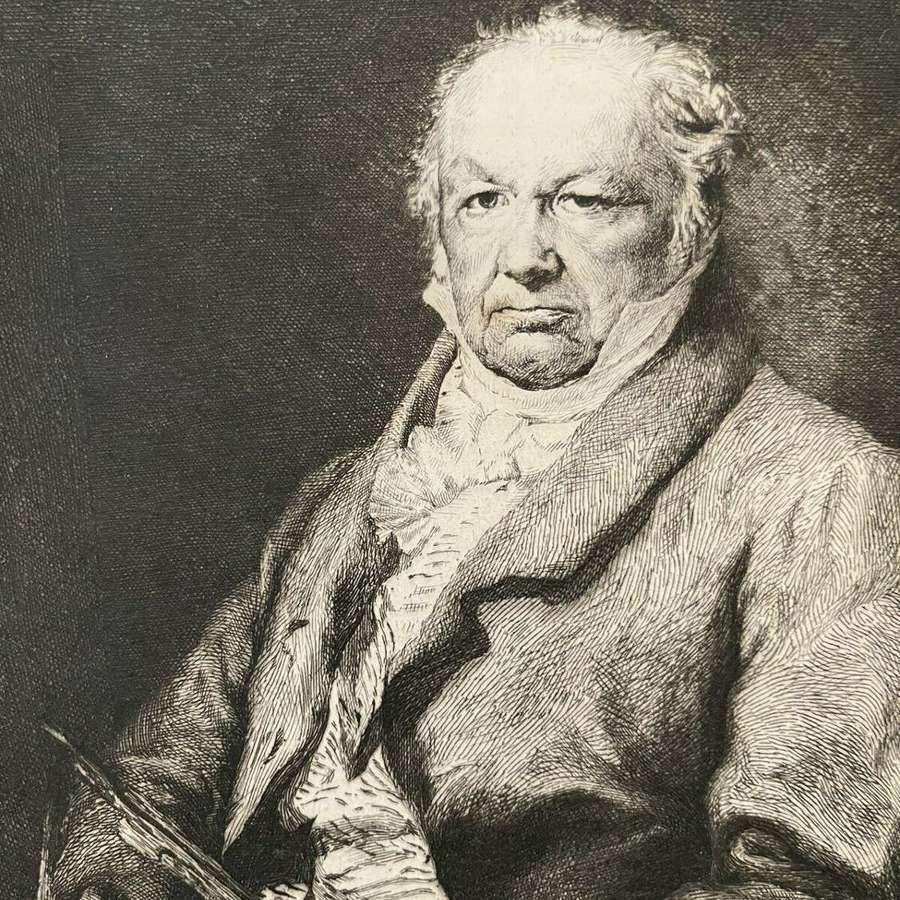 Antique Etching 'Portrait of Francisco Goya' after Louis Lucas 1879.