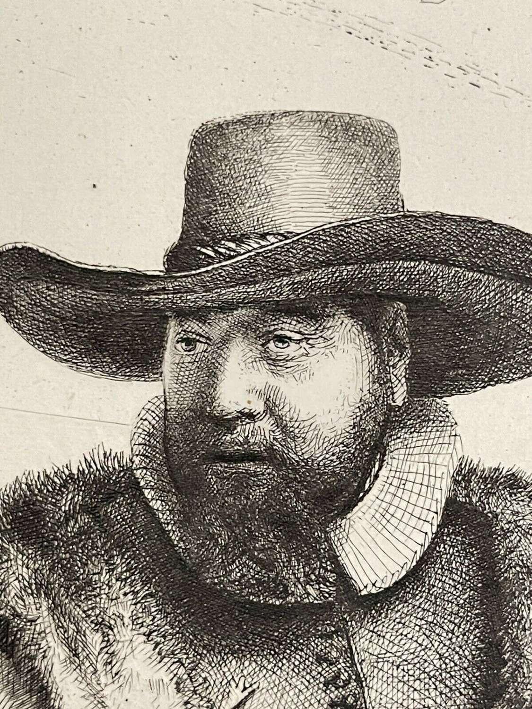 Cornelis Claesz Anslo, Mennonite Preacher 1886 Etching After Rembrandt