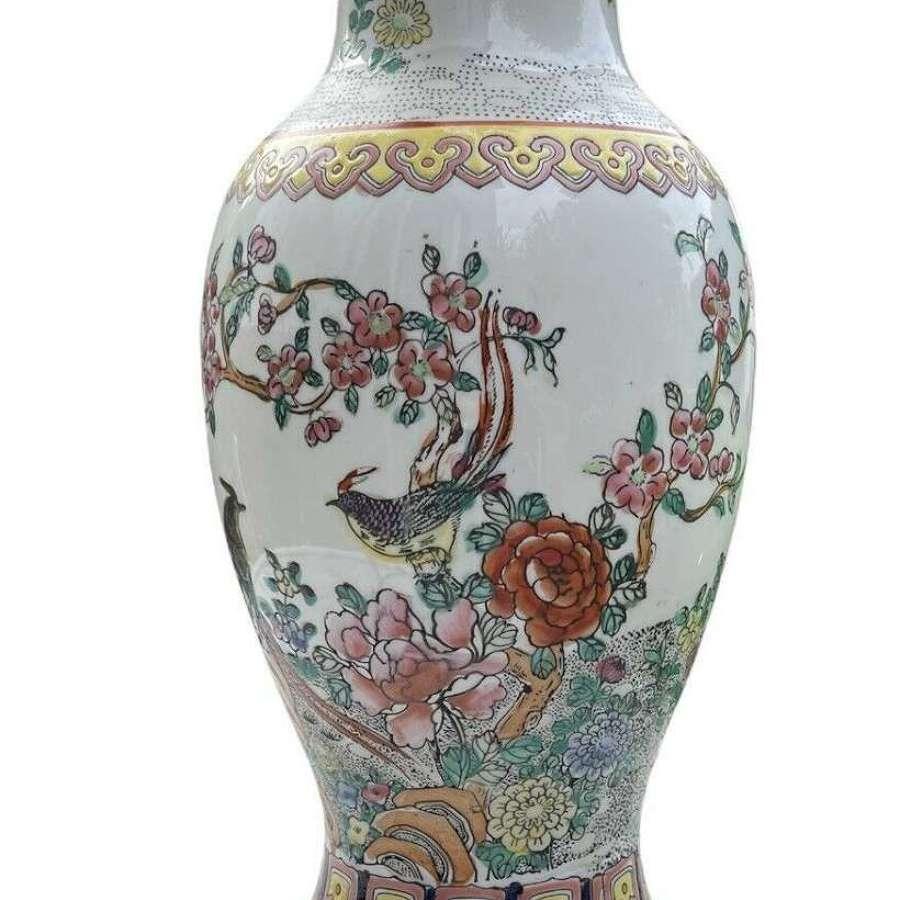 Chinese export Famile Rose lamp base